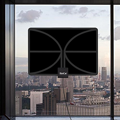 2018 NEW VERSION HDTV Antenna Indoor Amplified TV Antenna 60 80 Mile Range with Detachable Amplifier Signal Booster and 165 Feet Thicker Coaxial Cable For 4K 1080P 2160P Free TV Black TV Antennas