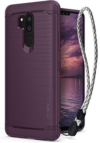 Ringke [Onyx] Compatible with LG G7 ThinQ Case Brushed Metal Design [Flexible & Slim] Dynamic Stroked Line Pattern Durable Anti Slip Shock Absorbent Cover with Wrist Strap for G7 Thin Q - Lilac Purple