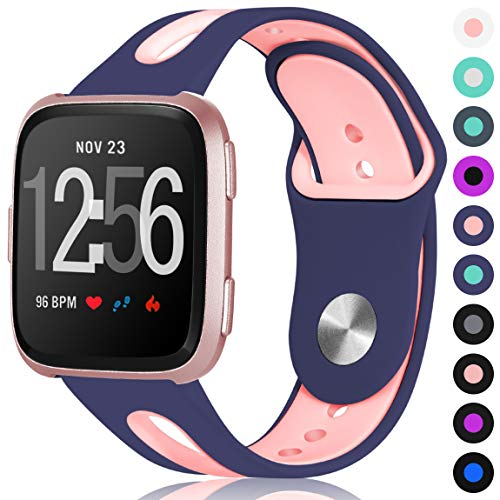 Maledan Sport Bands for Fitbit Versa Women Men, Small, Blue Pink