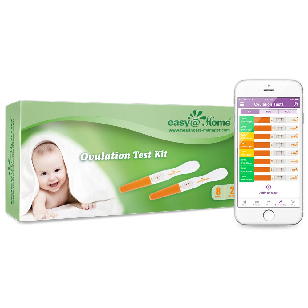 Easy@Home 8 Ovulation(LH) & 2 Pregnancy(HCG) Midstream Tests Sticks - Reliable Ovulation Predictor Kit and Fertility Test,Tracker with Premom Ovulation Predictor App for iOS & Android
