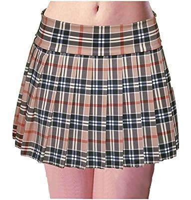 Schoolgirl Tartan Plaid Pleated Mini Skirt Tan Mocha Stretch Large
