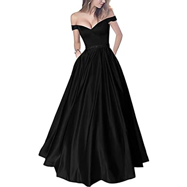 aebdf65ae8a Lemai Off Shoulder Beaded Satin V Neck Corset Long Prom Dresses Evening  Gowns Black US 2