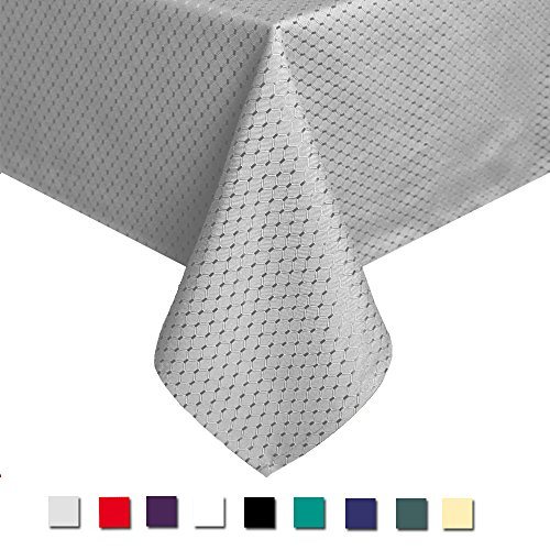 Eforcurtain Elegant Waffle Woven Waterproof Tablecloth Washable Polyester Table Cover for Holidays, 60 Inch By 120 Inch, Grey -