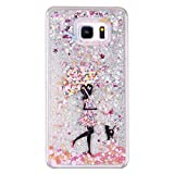 IKASEFU Novelty Creative[Glitter Flowing Silver Stars]Umbrella Girl Transparent Clear Hard Bling Liquid Shell Case Cover for Samsung Galaxy Note 5-Umbrella Girl
