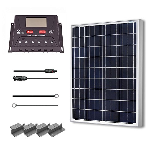 [Renogy 100 Watt 12 Volt Polycrystalline Solar Starter Kit with 30A PWM Controller - LCD Display] (100w Kit)
