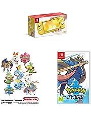 Switch Lite Yellow & Pokemon Sword & Sticker Set (Exclusive to Amazon)