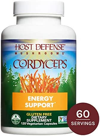 Host Defense - Cordyceps Mushroom Capsules, Naturally Helps Energy, Stamina, Endurance, and Oxygen Uptake to Support Athletic Activity, Non-GMO, Vegan, Organic, 120 Count