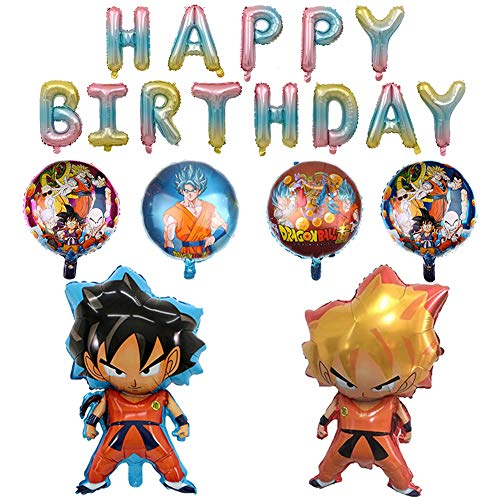 8PCS Dragon Ball Z Balloons,Birthday Banner Celebration Foil Balloon Set,Double Side DBZ Super Saiyan Goku Gohan Character Party Supplies Decorations