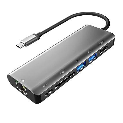 Concentrador USB-C, con 4K HDMI, 2 USB 3.0, Lector de Tarjetas SD, USB C Suministro de energía y Adaptador Gigabit Ethernet