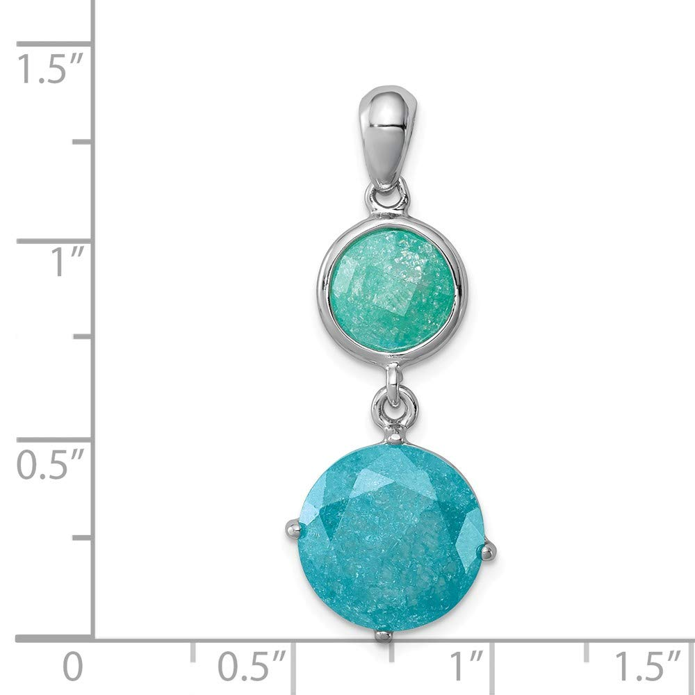 FB Jewels Solid 925 Sterling Silver Rhodium-Plated Round Green Blue Ice Cubic Zirconia CZ Pendant
