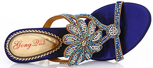 Rhinestone Bride Slippers Show Sexy T005 Bridemaid Wedding Salabobo Blue Party Womens Sandals Leather Fashion Dress xnZwFv
