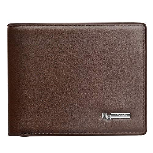 Rfid Blocking Mens Wallet | Voneta Rfid Leather Wallet For Men| Rfid Trifold Wallet Men | Credit Card Protector Purse Men Credit Card Holder 9 Card Slots and 1ID Window with Gift Box (Brown)