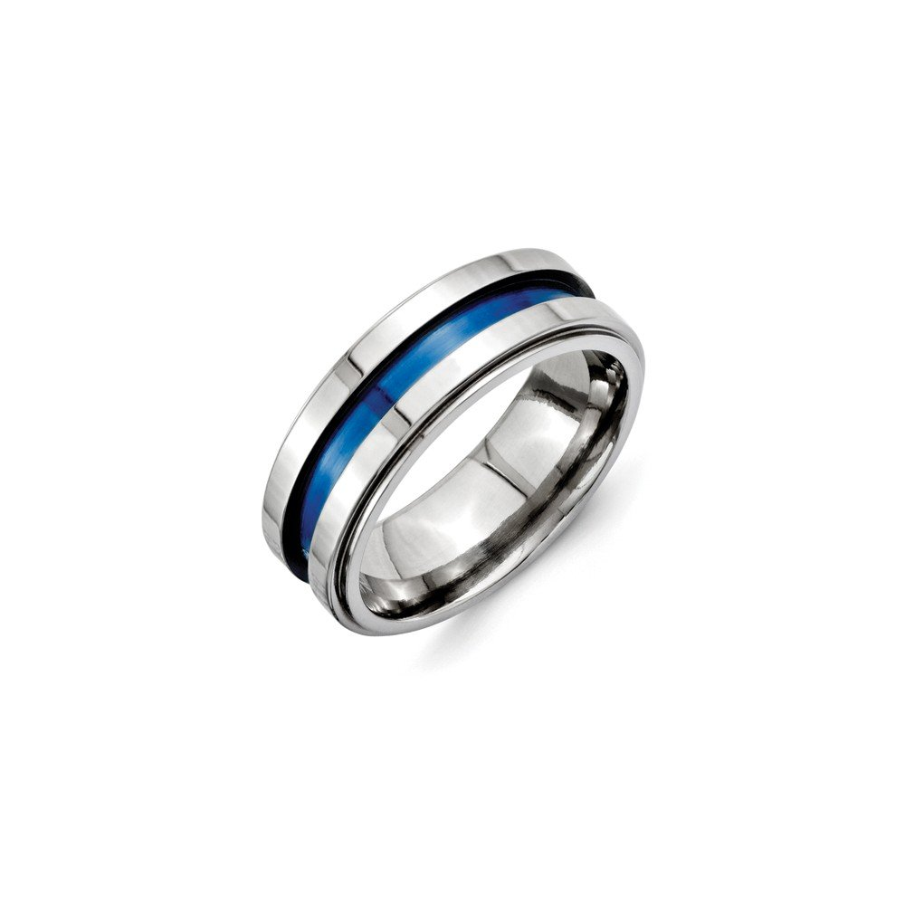 Titanium with Blue Triple Groove 8mm Polished Band Box