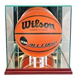 Basketball Display Case with Glass Top and Wood Base