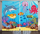 Ambesonne Whale Decor Collection, Happy Sea Animals Cartoon Characters Mollusc Rocks Sun Rays Comic Artwork, Window Treatments for Kids Girls Boys Bedroom Curtain 2 Panels Set, 108X84 Inches, Blue