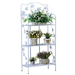 Worth Garden White Plant Stand Shelf Foldable 3-Tier Metal Display Top Indoor / Outdoor Stand Rack Household Decor