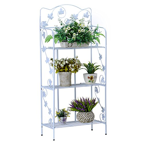 Worth Garden Upgraded 3-Tiered MULTILEVEL Powder Coating Metal Foldable Flower Pot Stand, Best for Home & Office - Indoor & Outdoor Patio Decorative Display Shelf, Modern Plant Stand - White