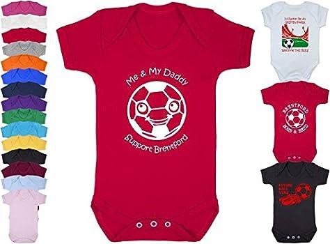 Hat-Trick Designs Brentford Football Baby Babygrow//Vest//Bodysuit//Romper-White//Blue//Pink-Me /& My-Unisex Gift