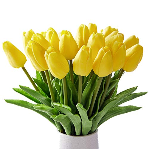 Artificial Tulips 20 Pcs Real Touch Latex Fake Flowers for Wedding Bouquet Home Party Office Decor (Yellow)