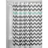 Teal and Gray Shower Curtain InterDesign Chevron Shower Curtain, 72 x 72-Inch, Gray/Aruba