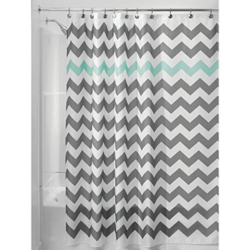 iDesign Chevron Fabric Shower Curtain Water-Repellent and Mold- and Mildew-Resistant for Master, Guest, Kids', College Dorm Bathroom, 72