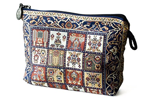 Oriental Fabric Case (Oriental Carpet Woven Fabric Cosmetic Pouch, Clutch, Makeup Bag - Herekei Design Collection)