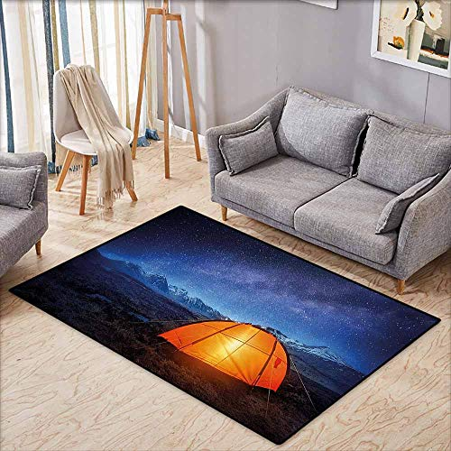 (Door Rug for Internal Anti-Slip Rug Camper A Tent Glows Under Night Sky Full of Stars Exploring Universe Life Picture Dark Blue Orange Durable W5'9 xL3'9)