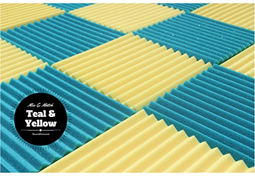 "Soundproofing Acoustic Studio Foam - Teal Color - Wedge Style Panels 12""x12""x1"" Tiles - 6 Pack by SoundAssured (Image #4)"