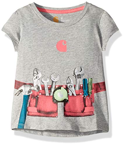 - Carhartt Girls' Toddler Short Sleeve Cotton Graphic Tee T-Shirt, Tool Belt (Grey Heather), 2T