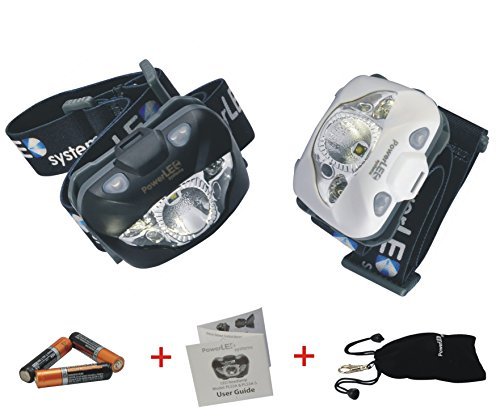 [50% SALE OFF] Top rated Bright PowerLED headlamp - Light weight, Easy Control (Button/IR SENSOR) - Adjustable White, Red, Strobe, SOS Light - Hands free, Waterproof for Outdoor/Home (Black)