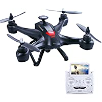 Xinlin X181 5.8G FPV Quad Drone With 2MP HD Live Camera 5 Inch Monitor Air Flying Photography RC Remote Control Racing Quadcopter Navigator X6 (Black)