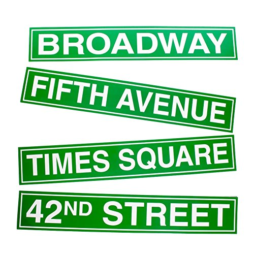 Beistle 50094 4-Pack NYC Street Sign Cutouts, 4-Inch by 24-Inch ()