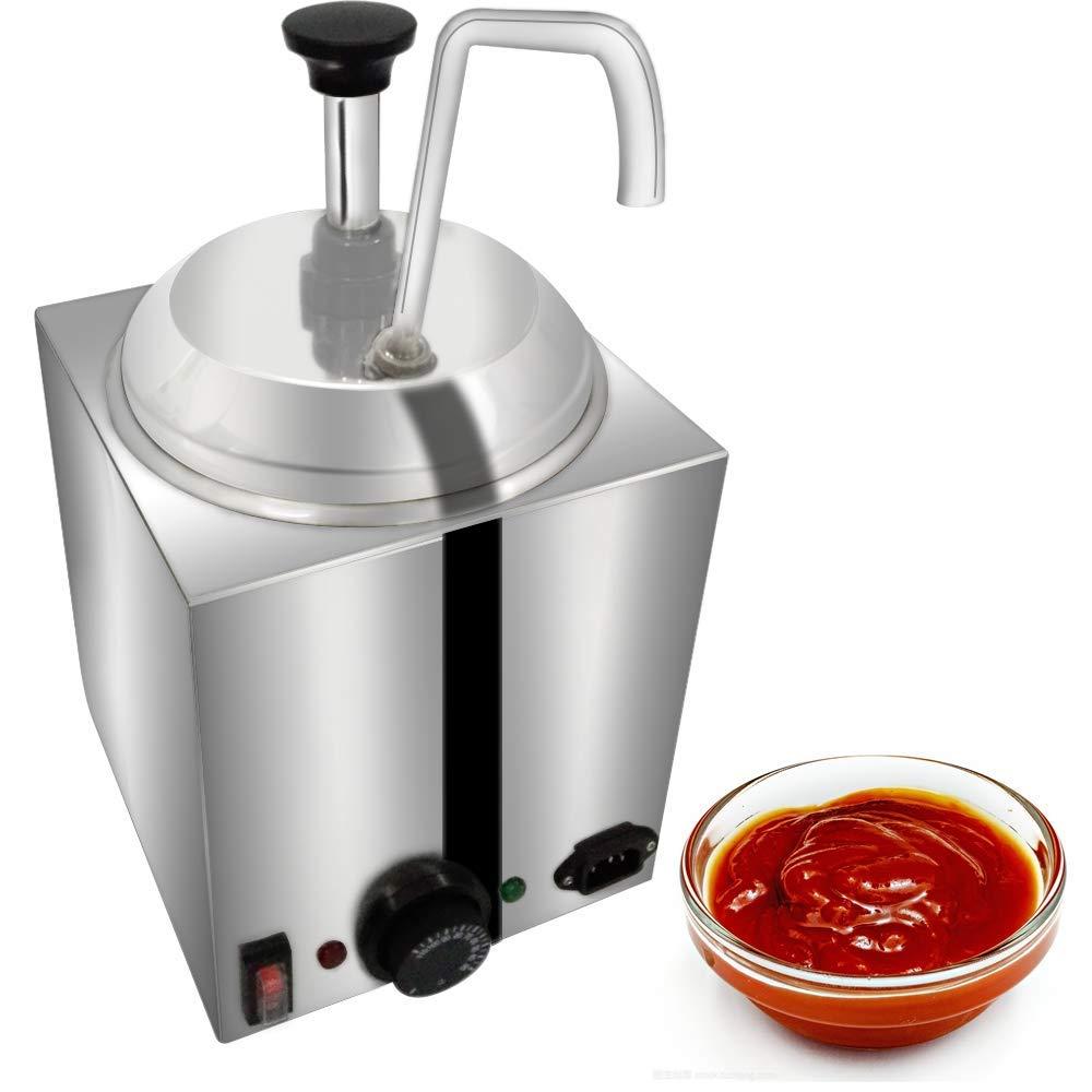 KUNHEWUHUA Condiment Pump Station Sauce Dispenser Pump Stainless Steel Heat Preservation 3L for Salad Jam Seasoning Sauce Squeeze (Round) by KUNHEWUHUA