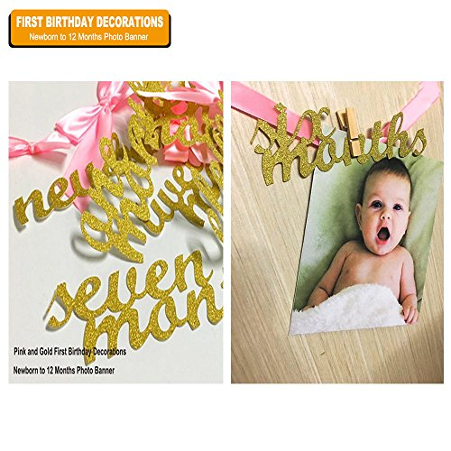 (EDBETOS Pink and Gold First Birthday Decorations, Newborn to 12 Months Photo Banner, First Birthday Garland Birthday Decorations for Girls)