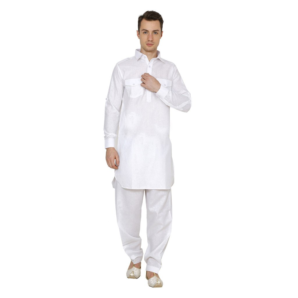 Royal Kurta Men's Linen Pathani Suit 714-PS-COTTON-WHITE-44