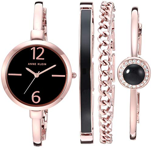 (Anne Klein Women's AK/3290BKST Rose Gold-Tone Bangle Watch and Bracelet Set)