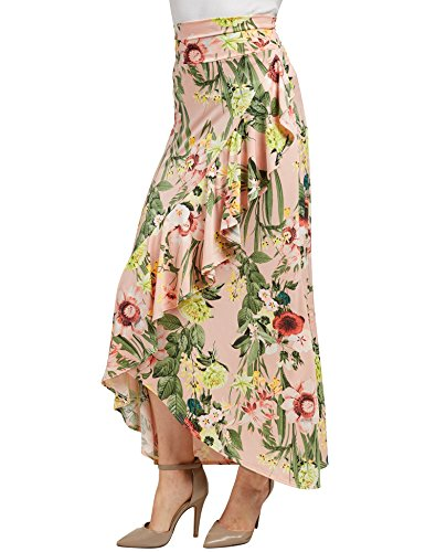 WB1353 Womens Print Wrapped High Low Ruffle Maxi Skirt XL Pink_Floral