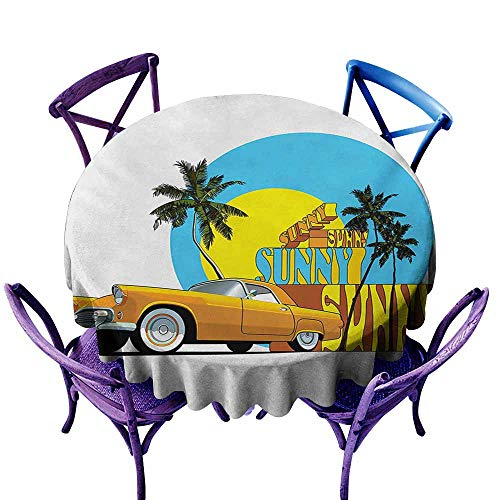 Round Tablecloth,Retro Vintage Car in Magic City Miami with Exotic Coconut Trees Sunny Day Beach,Table Cover for Home Restaurant,43 INCH,Yellow Blue Orange -