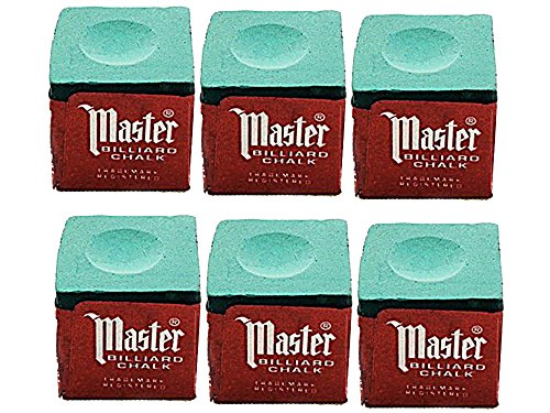 Half-Dozen-Green-Master-Pool-Cue-Chalk-6-Pieces