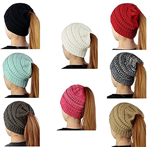 Huiyuzhi Women's Trendy Warm Chunky Cable Knit BeanieTail High Bun Ponytail Beanie Hat Cap (One Size, (Chunky Cable Knit Hat)
