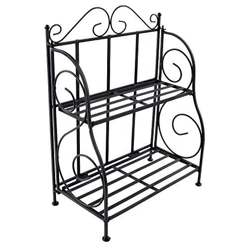 (Spice Rack, Retro Style Foldable Standing Storage Organizer Shelf,2-Tier Bathroom Countertop Organizer,Decorative Plants Storage Shelf. (Black))