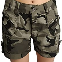 FEOYA Cotton Blend Camouflage Printed Shorts Womens Camo Short Pants - 5 Sizes Available