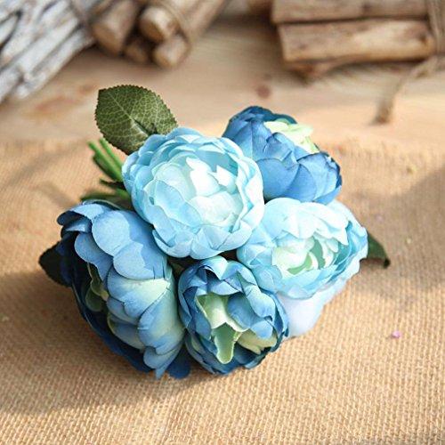 Vovomay 1 Bouquet 6 Heads Artificial Peony Silk Flower Leaf, Bridal Wedding Bouquet for Home Garden Party Wedding Decoration (Blue) (Silk Book Baby)