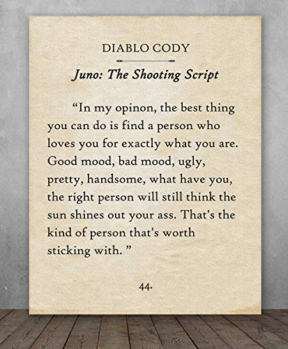 Poster - Diablo Cody - The Best Thing You Can Do - Juno - Choose Unframed Poster or Canvas - Makes a Great Gift for Book Lovers ()