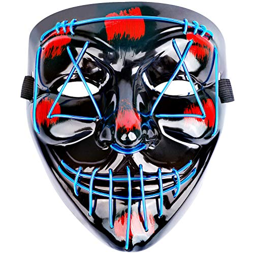 The Purge Masks Halloween (Halloween Scary Mask Costume Mask EL Wire Light up LED Mask for Halloween Cosplay Festival Party Fit Adults, Kids,)