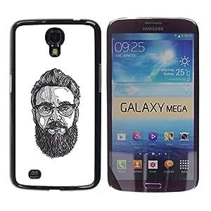GOODTHINGS Funda Imagen Diseño Carcasa Tapa Trasera Negro Cover Skin Case para Samsung Galaxy Mega 6.3 I9200 SGH-i527 - gafas de arte pintura barba inconformista