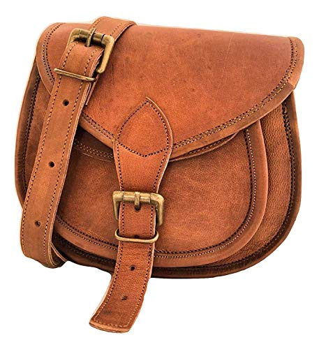 d7ca18f4bd8d Handmade Women Vintage Style Genuine Brown Leather Cross Body Shoulder  Handmade Purse