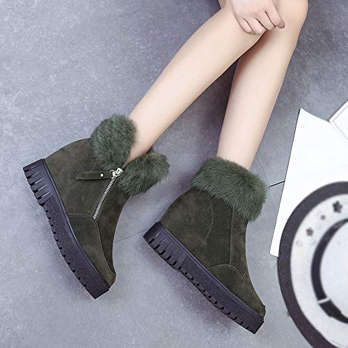 Zipper Womens Boots Velvet Boots Green Army Boots Side Heightening Snow Holywin Plus qpdRExSwR