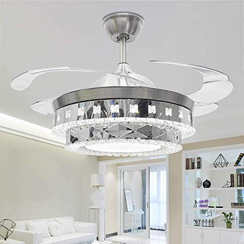- RS Lighting Modern Crystal Ceiling Fan Lights 42 Inch Transparent 4 Blades Fan Chandelier-for Indoor, Living Room, Dining Room, Bedroom and Restaurant House Ceiling Fan Light Kits (Silver-01)