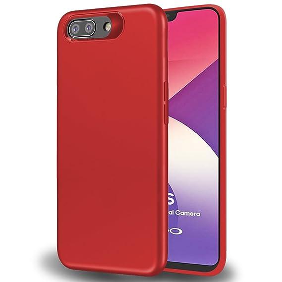 half off 23e8e 38f36 TheGiftKart Rubberised Matte Soft Back Cover for Oppo A3s (Red)